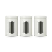 Brabantia vensterbus mat staal 1,5 liter 3 stuks wit