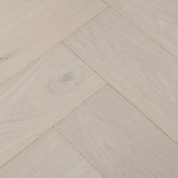Parquet motif chevrons chêne huilé blanc rainure 4V 14 mm 1,25 m²