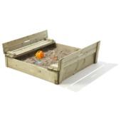Zandbak met opklapbare bankjes/deksel 120x120x28 cm