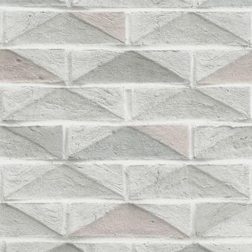 Vliesbehang Geo stenen wit-roze 104884