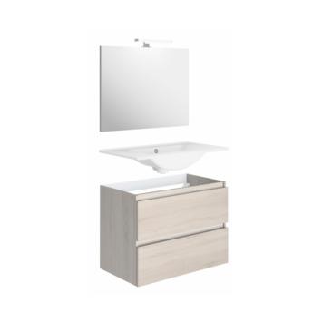 Ensemble meuble de salle de bains Bazil Allibert chêne Hamilton 80 cm 2 tiroirs