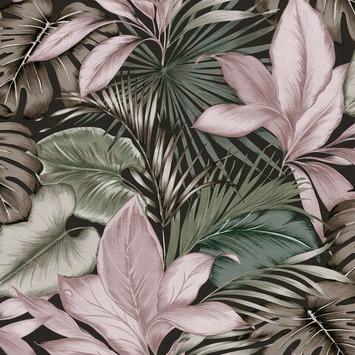 Vliesbehang Indra groen-roze 106742