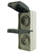 Profile opbouwstopcontact 2-polig met aarding 2-voudig verticaal spatwaterdicht grijs