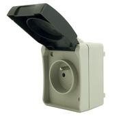 Profile opbouwstopcontact 2-polig met aarding en veiligheid spatwaterdicht grijs