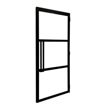 Solid stalen deur Ferro Cosmos met 3-glasverdelingen 204x88 cm links