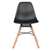 Chaise de salle à manger Isabel assise synthétique noir / piétement bois