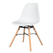 Chaise de salle à manger Isabel assise synthétique blanc / piétement bois