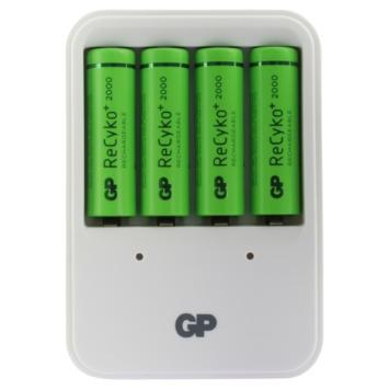 GP batterijlader PB420 + herlaadbare NiMH AA-batterijen 2000 mAh 4 stuks
