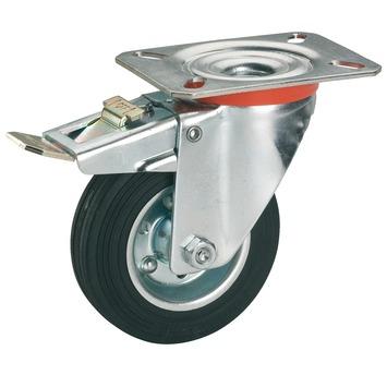 Zwenkwiel rubber met rem en plaatbevestiging Ø125 mm max. 100 kg