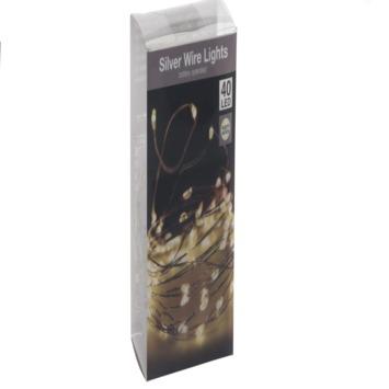 Kerstverlichting zilverdraad 40 LEDS warm wit
