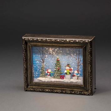Kerstdecoratie met sneeuwpoppen, kerstbomen en LED warm wit voor binnen