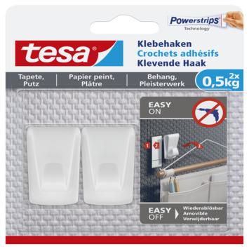 Tesa klevende haak voor behang en pleisterwerk wit 0,5 kg 2 stuks