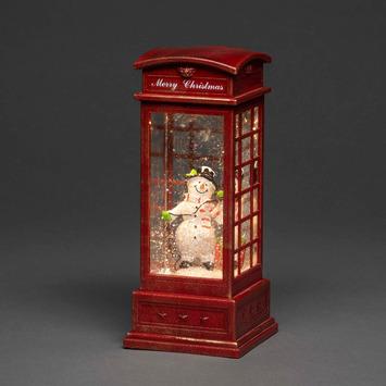 Telefooncel met sneeuwpop en LED warm wit voor binnen