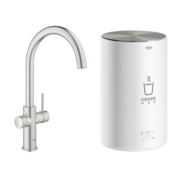 Grohe Red Compact keukenkraan met 3 liter Kokend Water Boiler Supersteel
