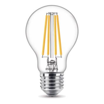 Ampoule LED poire Philips  E27 100W A60 transparent