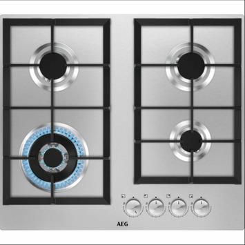 Table de cuisson au gaz AEG HGB64301UM 60 cm 4 zones inox
