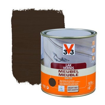 V33 meubelvernis deco zijdeglans wengé 500 ml