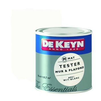 De Keyn muurverf kleurtesters mat 001 wit 70 ml