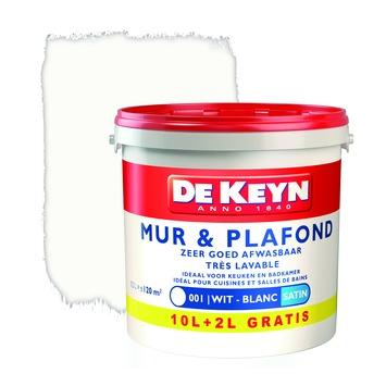De Keyn muur- en plafondverf zijdeglans 001 wit 12 L