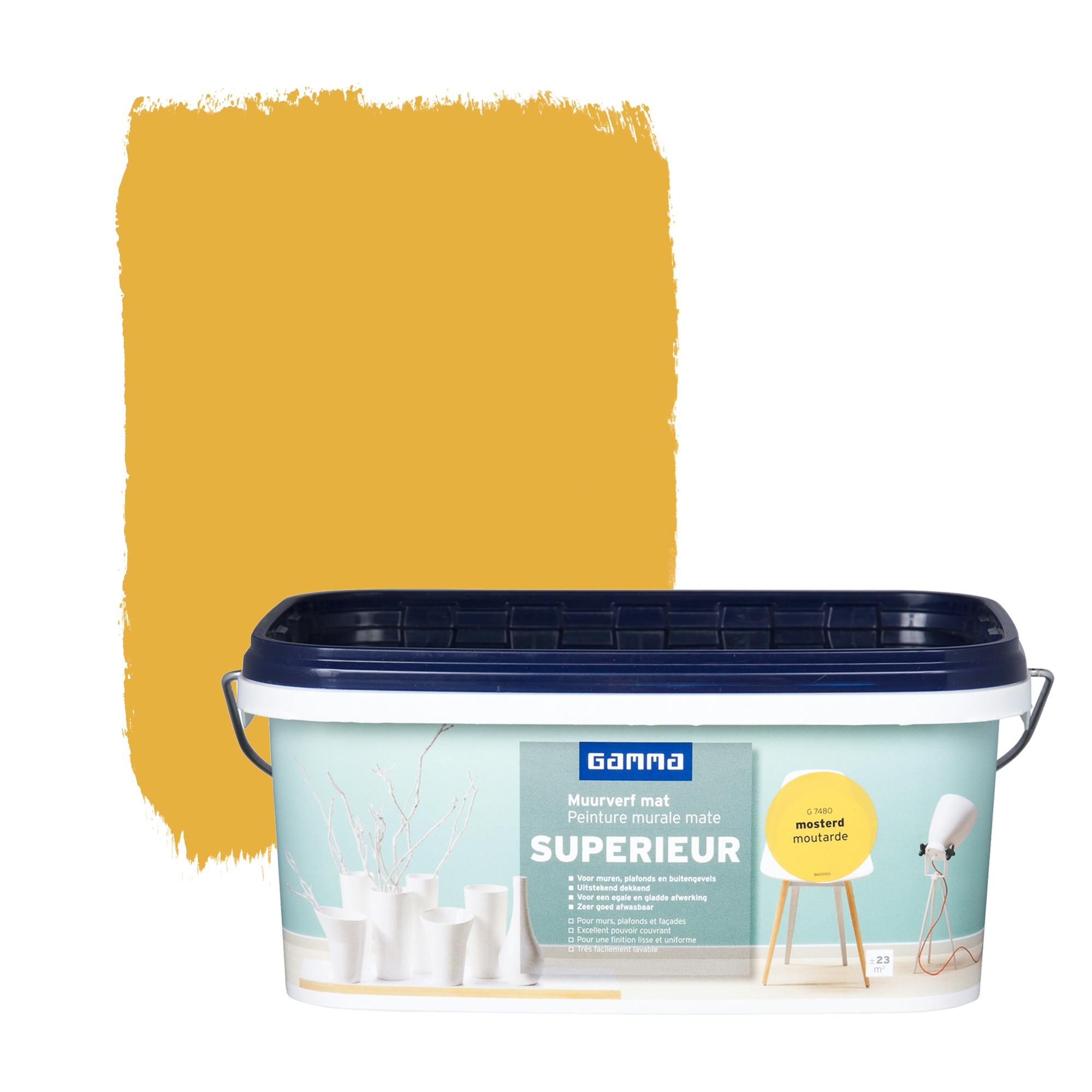 peinture murale gamma superieur mat moutarde 2 5 l. Black Bedroom Furniture Sets. Home Design Ideas