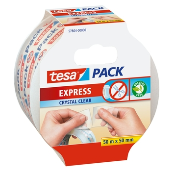 Tesa Express Ruban adhésif d'emballage déchirable à la main 50 m x 50 mm transparent