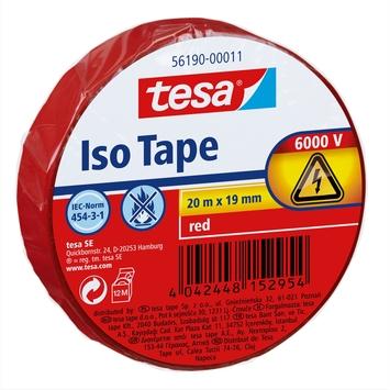 Tesa Ruban adhésif isolant 20 m x 19 mm rouge