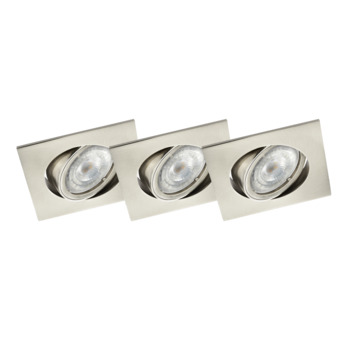 GAMMA inbouwspots LED GU10 3X richtbaar vierkant staal