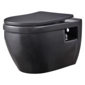 WC suspendu sans rebord Tyler Atlantic noir avec abattant WC