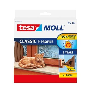 Tesa Moll tochtstrip classic p profiel 8jr, 25m bruin
