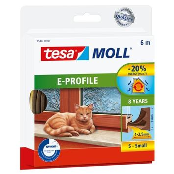 Tesa Moll tochtstrip classic e profiel 8jr, 6m bruin