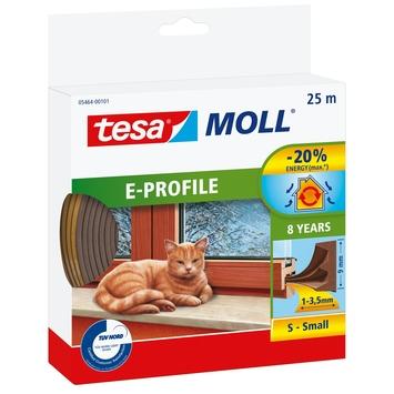 Tesa Moll tochtstrip classic e profiel 8jr, 25m bruin