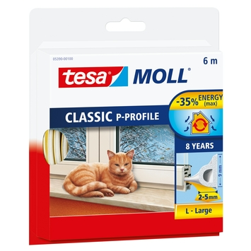 Tesa Moll tochtstrip classic p profiel 8jr, 6m wit