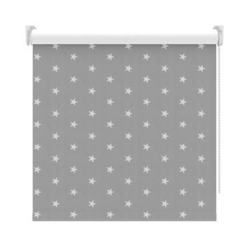 GAMMA rolgordijn dessin verduisterend 3579 grijs witte sterren 150x190 cm
