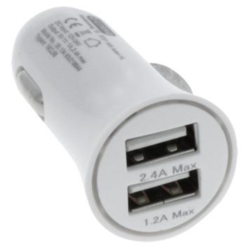 Q-link autolader 12-24V 2x USB 5V/2,4A wit