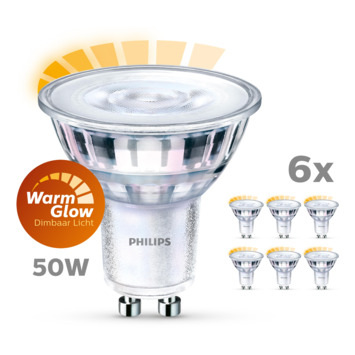 Lot de 6 ampoules spot LED Philips GU10 warm glow