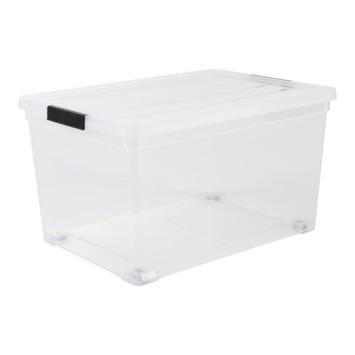 Boîte de rangement sur roulettes 50 L transparent