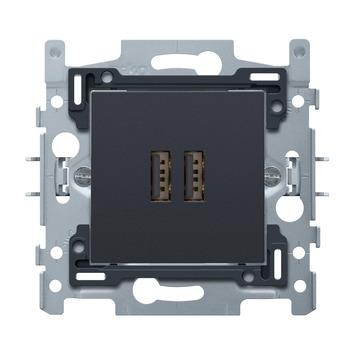 Niko stopcontact 2x USB antraciet
