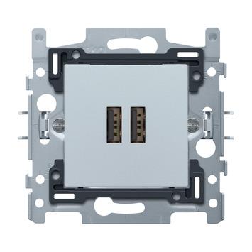 Niko stopcontact 2x USB zilver