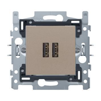 Niko stopcontact 2x USB brons