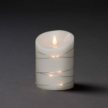 Konstsmide kerstverlichting LED 3D waskaars omwikkeld met cascadesnoer met timer warm wit voor binnen Ø10 cm x 14 cm