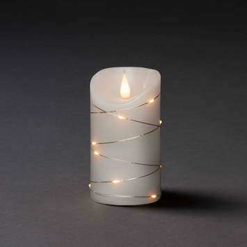 Konstsmide kerstverlichting LED 3D waskaars omwikkeld met cascadesnoer met timer warm wit voor binnen Ø7.5 cm x 13.5 cm