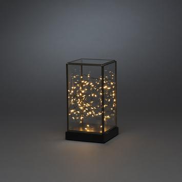 Konstsmide kerstverlichting LED glazen lantaarn met timer extra warmwit voor binnen