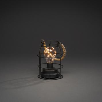 Konstsmide kerstverlichting LED metalen stormlantaarn rond extra warm wit voor binnen