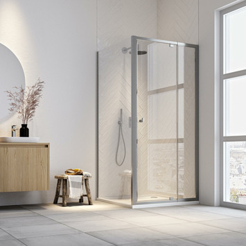 Get Wet draaideur en douchewand Hooked 100x100x200 cm verstelbaar hoogglans aluminium