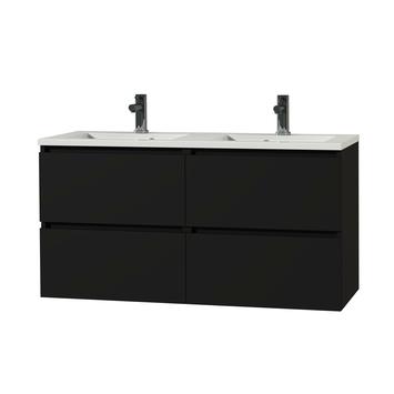 Tiger Karlo greeploos badkamermeubel mat zwart met wit blad 120 cm