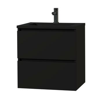 Tiger Karlo greeploos badkamermeubel mat zwart met zwart blad 60 cm