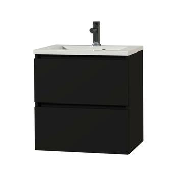 Tiger Karlo greeploos badkamermeubel mat zwart met wit blad 60 cm