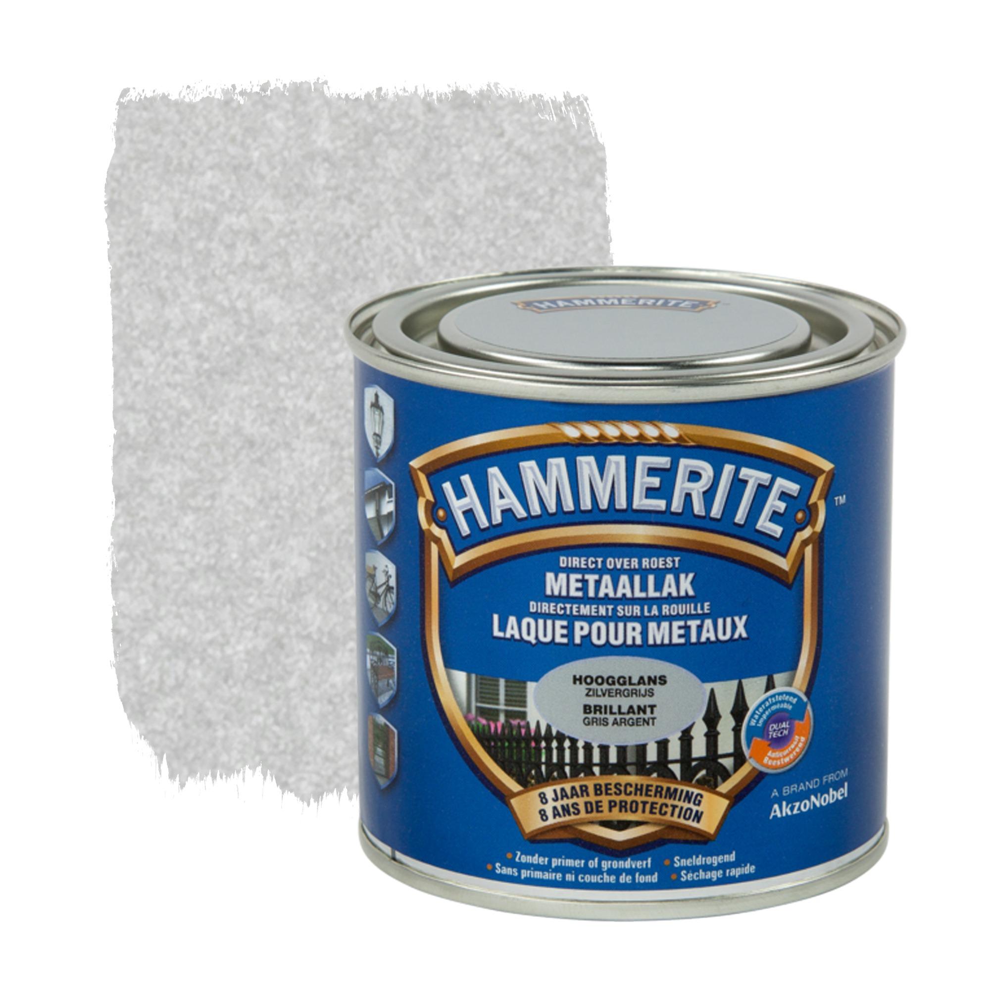 Laque pour m tal hammerite brillant gris argent 250 ml peintures sp ciales papier peint for Peinture gris metal