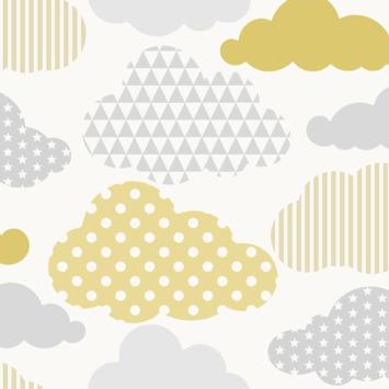 Vliesbehang wolken geel-grijs (108267)