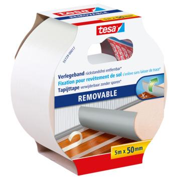 Tesa Ruban adhésif facile à enlever pour tapis 5 m x 50 mm blanc